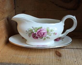 Vintage ceramic creamer pink flowers - Winterton England - Vintage Pot - Gold trim - Orange Rétro