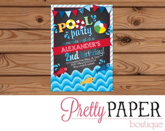 Pool Party // Swim Party Birthday Invitation - Digital or Printed
