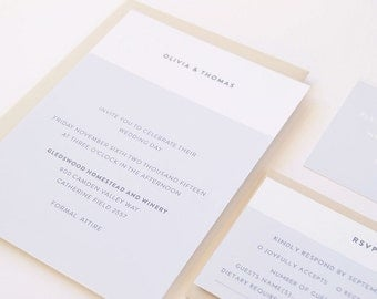 OLIVIA Wedding Suite - DEPOSIT - Wedding Invitation, Simple Wedding Invitation, Modern Wedding Invitations, Wedding Invites, Cotton