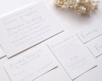 SIMONE Wedding Suite - SAMPLE - Wedding Invitation, Script Wedding Invite, White & Grey Wedding Invitations, Wedding Invites - Calligraphy