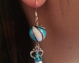 Swirled Glass with Key accent Earrings