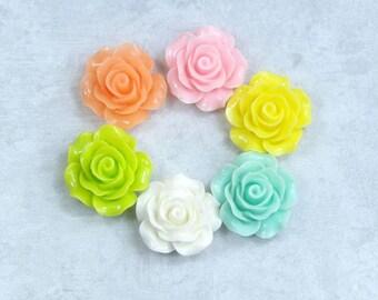 6 Rose Cabochons Mixed Lot 20mm Rose Cabochon Multi Color Cabochons Mix Color Rose Cabochon