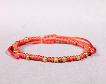 Orange  and Gold bracelet/Anklet, Woven anklet, Beaded bracelet/ anklet,  B-40