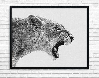 Lion Face, Lion Face Wall Art, Safari Wall Art, Lion Wall Art, African Animal Printable, Lion Face Art, Lion Nursery, Animal Lion Print