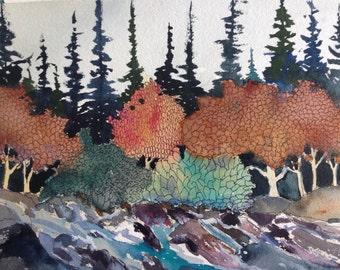 Mountain stream - original watercolor artwork