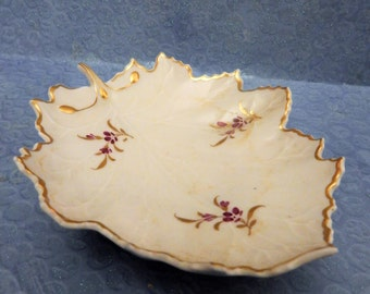 Hochst Hand-Painted Porcelain Forget Me Not Leaf Dish Made in Germany