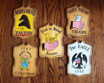 Vintage Tavern Signs - Set of 5