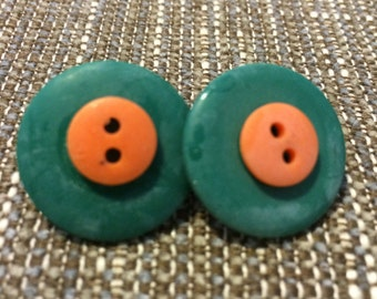 Orange and Green Button Earrings