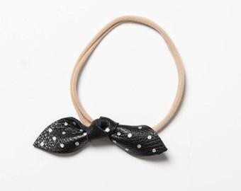 Leather Bow headband/Leather headband/Alligator clip/Black and silver