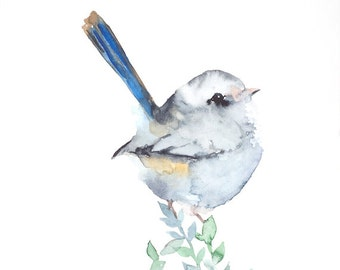 Bird painting original watercolor of gray little bird