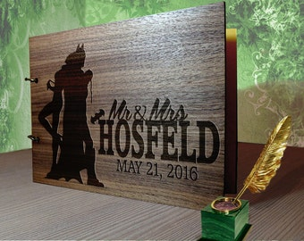 Rustic Wedding Guest Book  / Catwoman and batman Guest Book Wood / Doctor Who guest book alternative /  guest book wedding