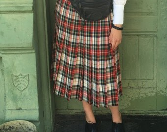 Vintage Pendleton plaid pleated skirt wo (8)