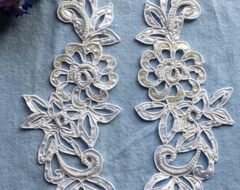 Vintage White Cutwork Satin Lace Applique Set, Beaded, Sequined, Bridal, Crafts, Lace Applique, Wedding Lace , Neckline Lace