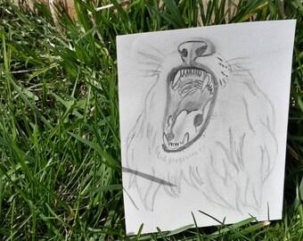 Lion roar (pencil sketch)