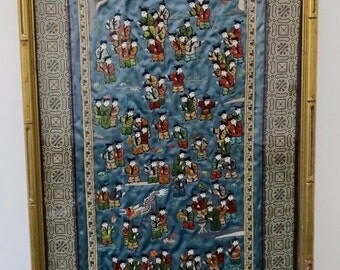 100 Chinese Children Framed Tapestry with Silk Embroidered handwork