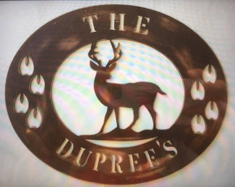 Personalized Wood Deer Sign