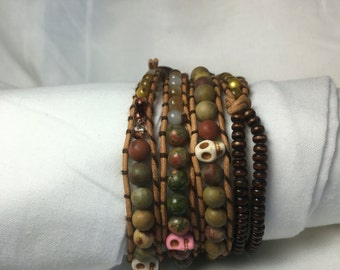 Earth tones wrap bracelet