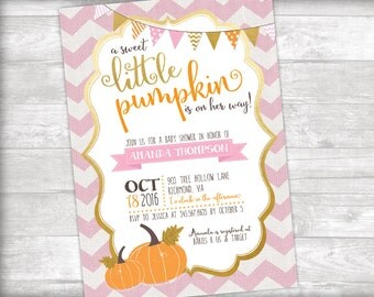 A Sweet Little Pumpkin Baby Shower Invitation Printable