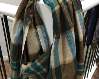 Cashmere feel Plaid Shawl Blue/Purple