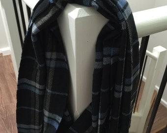 Woven Cashmere Feel Plaid Scarf Black/Grey