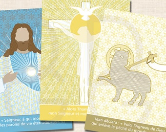 """12 religious images A7 'acts of faith hope and charity""""(4 x 3 different models)"""