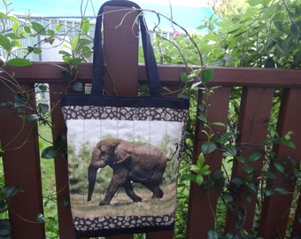 Elephant print cotton fabric tote