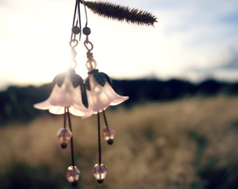 Bohemian Earrings - Flower Earrings - Boho Earrings - Floral Earrings - Lily Flower Earrings - Dangle Drop Earrings - Vintage Style Pink.