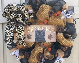 Cat Wreath, Black Cat Wreath, Everyday Wreath, Summer Wreath, Deco Mesh Wreath