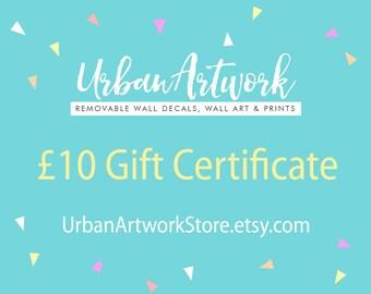 Gift Certificate for UrbanArtworkStore, Gift Certificate, Present, Birthday Present, Birthday Gift, Coupon, Voucher Code, Gift