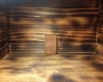Burnt Orange Hand Made Suede Leather Money Clip