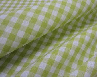 cotton fabric woven check lightgreen white 1cm France