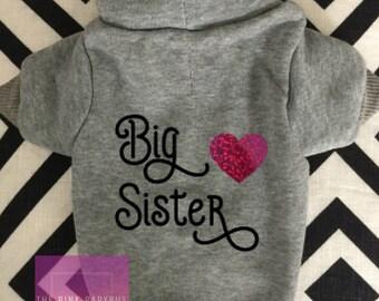 Dog Hoodie Sweater, Small Dog Hoodie, Dog Hoodie, Big Sister, Big Brother, Dog Sweatshirt, Pet Sweater, Pet Hoodie, Grey Dog Hoodie