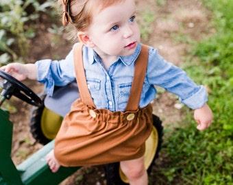 Brown Suspender Skirt--girls--toddler--vintage--high wasited--custom--fall