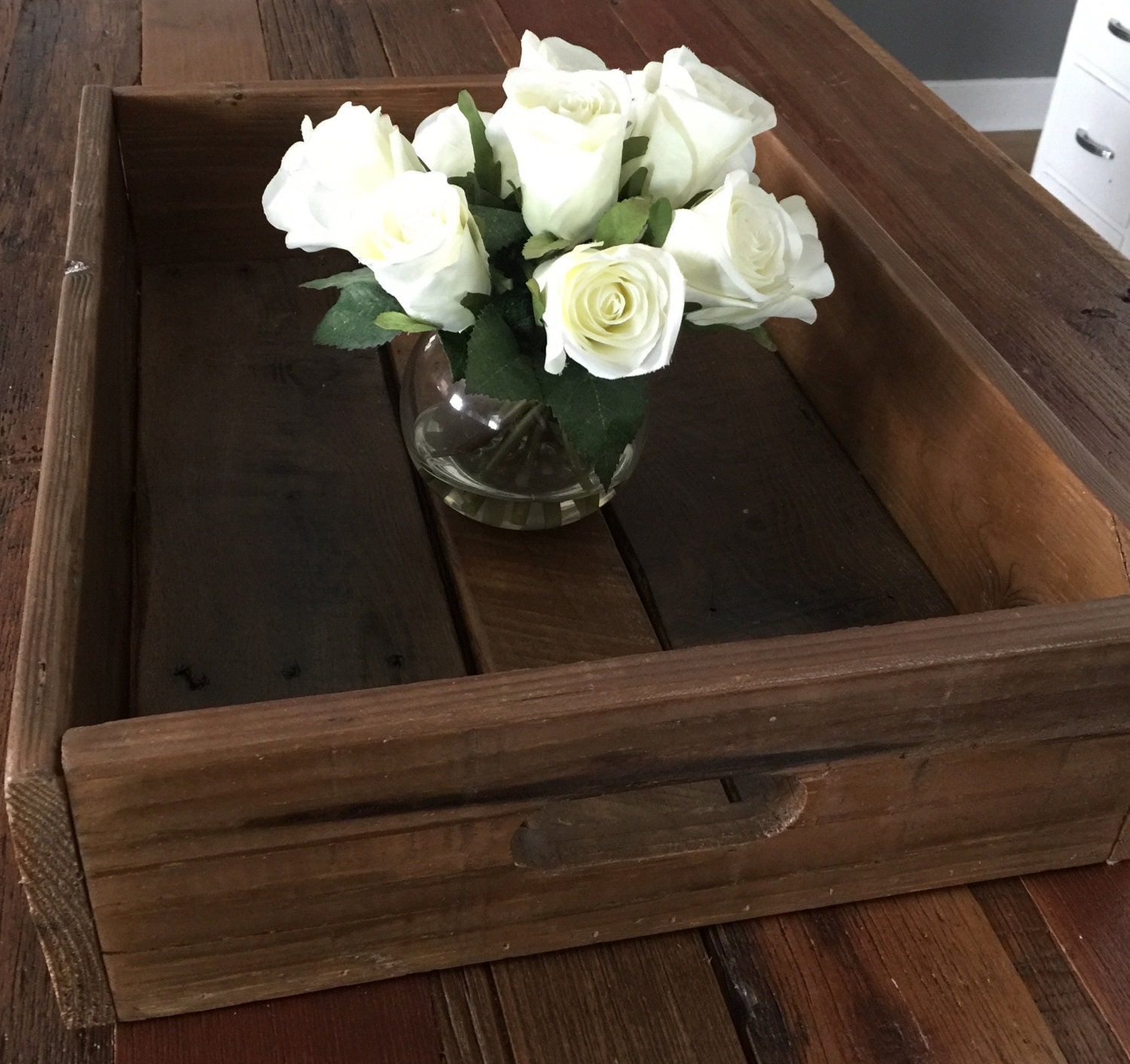 Rustic Tray Centerpiece : Rustic serving tray centerpiece reclaimed pallet