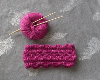 Hand knit headband, cable braided headband, ear warmers, wide knit headband