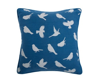 Birds of Paradise cushion in Regatta Blue