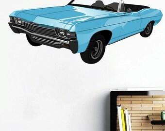 kcik107 Full Color Wall decal retro blue car convertible living room bedroom