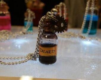Death in a bottle potion vial necklace