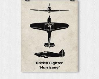 Hurricane Fighter Plane Print, Vintage Airplane, WWII Airplanes, Aviation Print, Airplane Poster, Boys Room Decor
