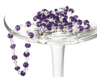 """Genuine Amethyst Necklace, Rosary Style Chain, Silver 925 Necklace, Solid Sterling Silver Beaded Necklace, 15.75"""" and 17.71"""" Lenght"""
