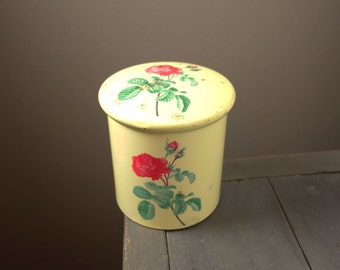 Vintage metal tin, cream color with roses, 1960's