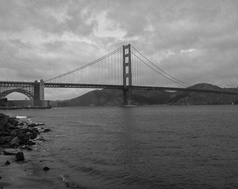 Golden Gate Bridge, Photography Print Black and White