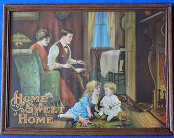 "Early 1900s Framed ""Home Sweet Home"" Lithograph"