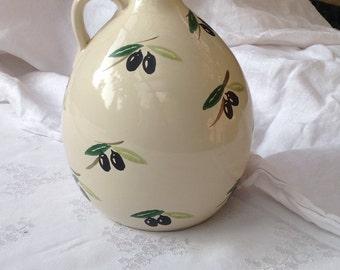 Olive oil jug handpainted