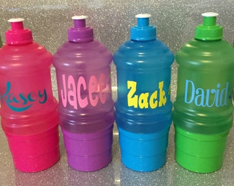 Personalized Water Bottles with Snack Storage