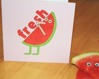 Funny Greeting Card Watermelon Food