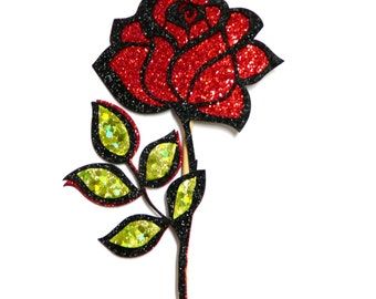 Photo Booth Props -  1PC Glitter Red Rose Photo Booth Props