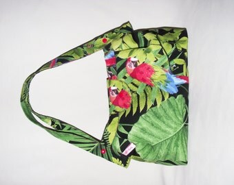 "Handbag in cotton spirit ""rockabilly"", multicolored parrots and palm trees"