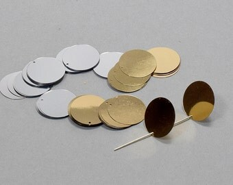 Sequins, Gold & Silver Loose Flat Metallic Sequins, 250 Pcs Pack, Size: 20 mm.