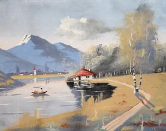 Vintage gouache painting river landscape